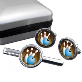 10 Pin Bowling Round Cufflink and Tie Clip Set