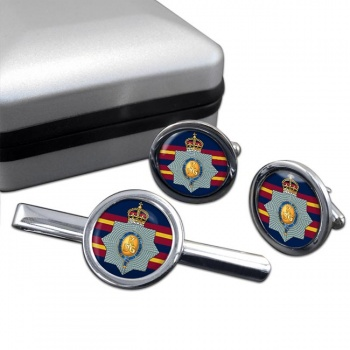 1st The King's Dragoon Guards Round Cufflink and Tie Clip Set
