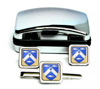 Trois-Rivieres (Canada) Square Cufflink and Tie Clip Set