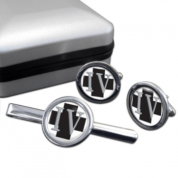 4 Medical Regiment Round Cufflink and Tie Clip Set