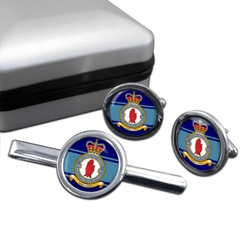 No. 502 Squadron RAuxAF Round Cufflink and Tie Clip Set