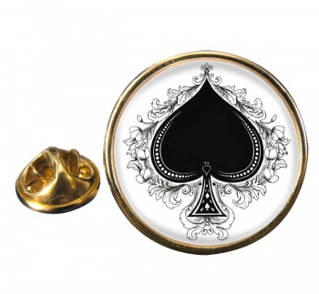 Ace of Spades Round Pin Badge