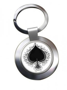 Ace of Spades Chrome Key Ring