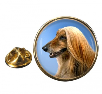 Afghan Hound Round Pin Badge