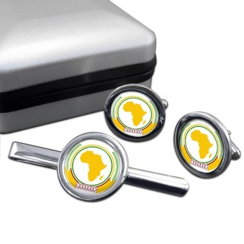 African-Union Round Cufflink and Tie Clip Set