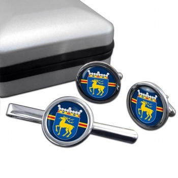 Aland Round Cufflink and Tie Clip Set