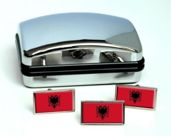 Albania Flag Cufflink and Tie Pin Set