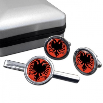 Albania Round Cufflink and Tie Clip Set