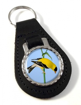 American Goldfinch Leather Key Fob