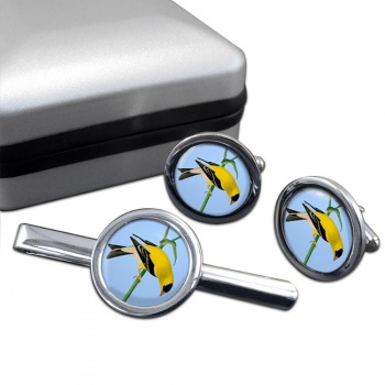 American Goldfinch  Cufflink and Tie Clip Set