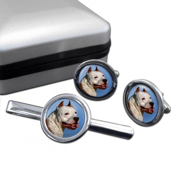 American Staffordshire Terrier  Cufflink and Tie Clip Set