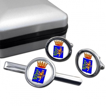 Andria (Italy) Round Cufflink and Tie Clip Set