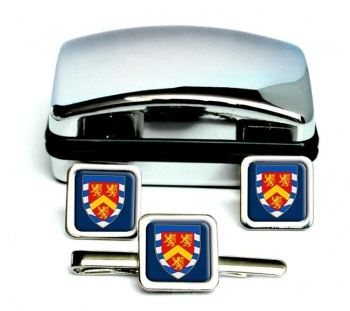 Anglesey Square Cufflink and Tie Clip Set