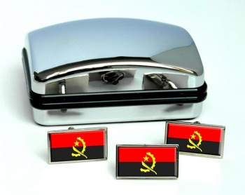 Angola Flag Cufflink and Tie Pin Set