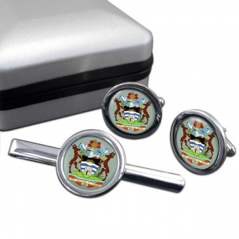 Antigua-and-Barbuda Round Cufflink and Tie Clip Set
