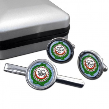 Arab League Round Cufflink and Tie Clip Set