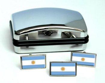 Argentina Flag Cufflink and Tie Pin Set