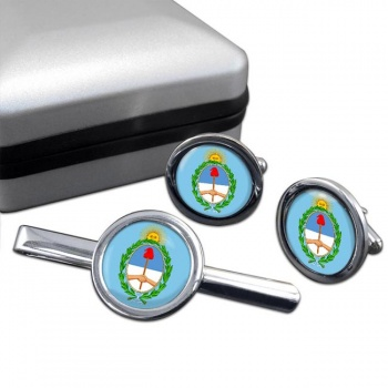 Argentina Round Cufflink and Tie Clip Set