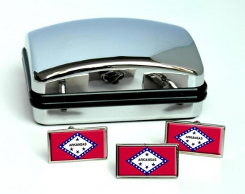 Arkansas  Flag Cufflink and Tie Pin Set
