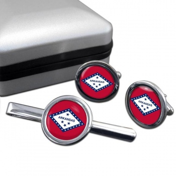 Arkansas  Round Cufflink and Tie Clip Set