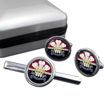 10th Royal Hussars (Prince of Wales's Own) Round Cufflink and Tie Clip Set