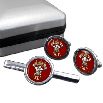 12th Royal Lancers Round Cufflink and Tie Clip Set