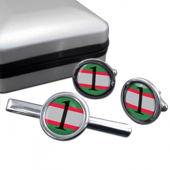 1 Military Intelligence Brigade Round Cufflink and Tie Clip Set