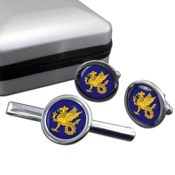 43 (Wessex) Brigade Round Cufflink and Tie Clip Set