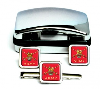Army  Square Cufflink and Tie Clip Set