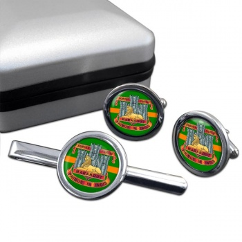 Devonshire and Dorset Light Infantry Round Cufflink and Tie Clip Set