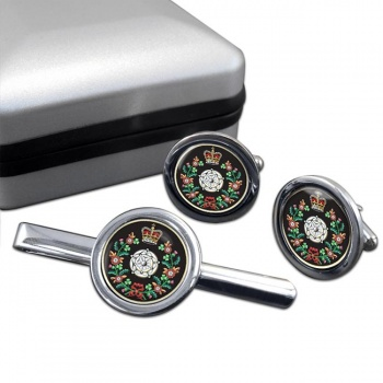 Duke of York's Royal Military School Round Cufflink and Tie Clip Set