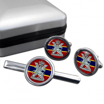 Fife and Forfar Yeomanry Scottish Horse Round Cufflink and Tie Clip Set