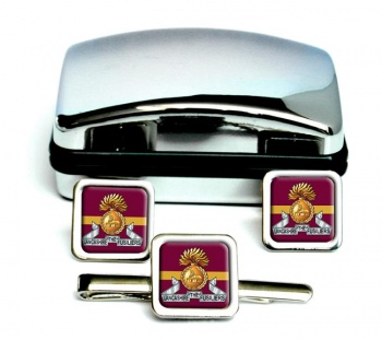Lancashire Fusiliers Square Cufflink and Tie Clip Set
