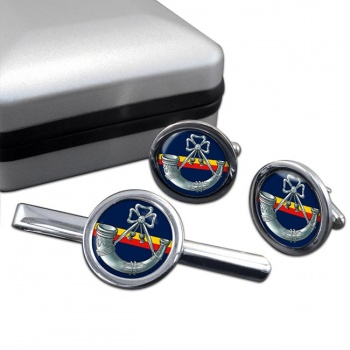 Oxfordshire and Buckinghamshire Light Infantry Round Cufflink and Tie Clip Set