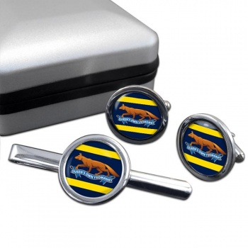 Queen's Own Yeomanry Round Cufflink and Tie Clip Set