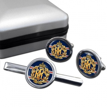 Royal Flying Corps Round Cufflink and Tie Clip Set