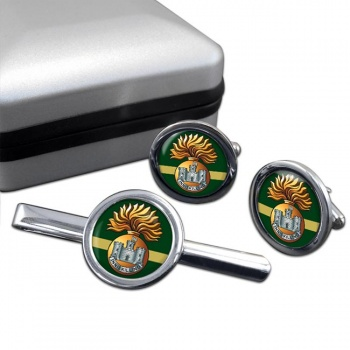 Royal Inniskilling Fusiliers Round Cufflink and Tie Clip Set