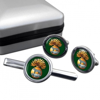 Royal Munster Fusiliers Round Cufflink and Tie Clip Set