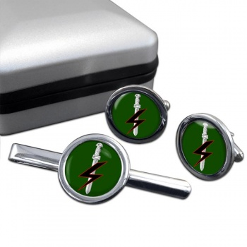 Special Forces Support Group Round Cufflink and Tie Clip Set