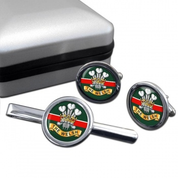 Welsh Regiment Round Cufflink and Tie Clip Set