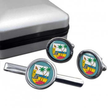 Atlantico (Colombia) Round Cufflink and Tie Clip Set