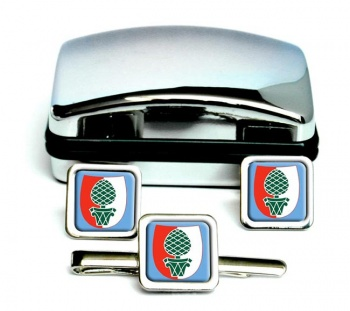 Augsburg (Germany) Square Cufflink and Tie Clip Set