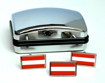 Flagge Osterreichs (Austria) Flag Cufflink and Tie Pin Set
