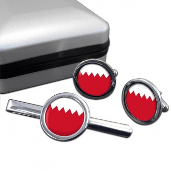 Bahrain  Round Cufflink and Tie Clip Set