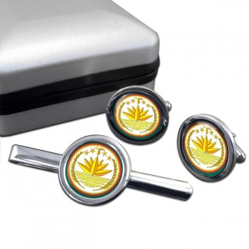 Bangladesh Round Cufflink and Tie Clip Set