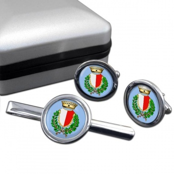 Bari (Italy) Round Cufflink and Tie Clip Set