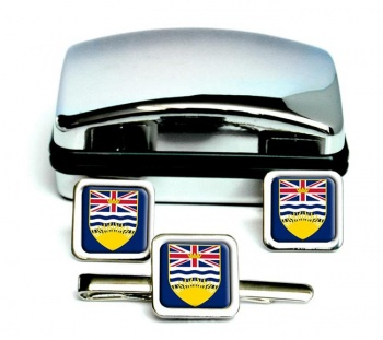 British Columbia (Canada) Square Cufflink and Tie Clip Set