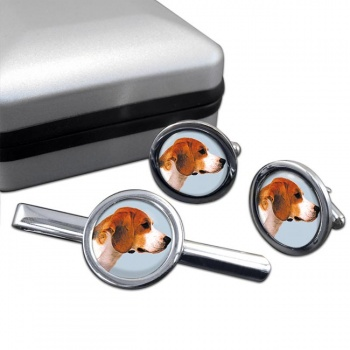 Beagle  Cufflink and Tie Clip Set