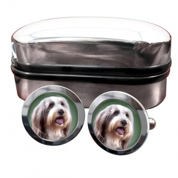 Bearded Collie  Round Cufflinks