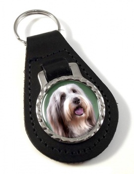 Bearded Collie Leather Key Fob